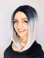 Womens Grey Silver Wig Full Head Soft Feel Fancy Dress Costume Bob Ladies UK