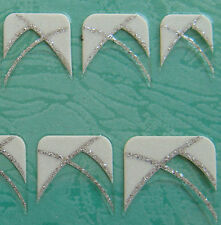 Nail Art 3D Sticker Silver Glitter French Style White Simple Pattern Half Nail