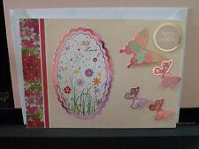 Handmade Card Birthday Blank Insert Wording With Love and Happy Birthday