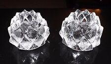 ORREFORS ART GLASS ARTICHOKE TEA LITES CANDLE HOLDERS PAIR (2)