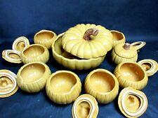 Williams Sonoma Pumpkin Soup Tureen & 8 Matching Pumpkin Covered Bowls