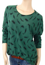 Ella Jonte Feinstrick Pullover 42 44 grün schwarz Federn Made in Italy M - L