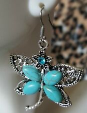 Blue  CZ Butterfly Turquoise Gemstone Dangle Earrings Antique Silver