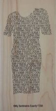 NEW MSE! My Sentiments Exactly! Mounted Wood Rubber Stamp T336 Purple Dress