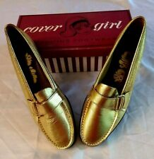 Authentic Retro 1970's Women's Shoes - Cover Girl Gold Buckle Flat Loafer, 9.5 M