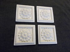 FOUR SQUARE FLOWER CORNERS WHITE DECORATIVE MOULDINGS FIREPLACE CUPBOARDS RESIN