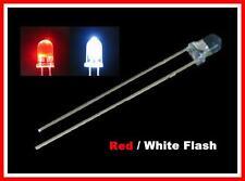 50 Red / White Flash 3mm Blink LEDs Free 9v Resistors