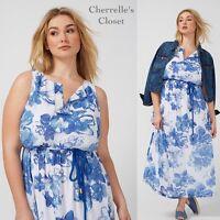 NEW! Lane Bryant PRINTED MAXI Dress Woman's Plus Size 14/16 1X Blue White Floral