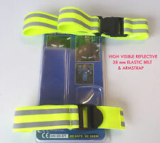 HIGH VISIBILITY HI VIZ REFLECTIVE ELASTIC BELT ARM STRAP SET ROAD BICYCLE SAFETY