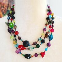 Multi Strand Glass Beaded Gemstone Colorful Layered Necklace