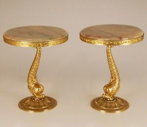 Mid Century Hollywood Regency alabaster gilt brass dolphin end side tables 50s