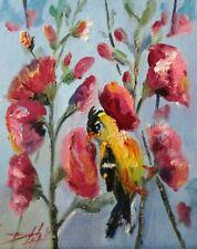 hollyhocks finch bird garden flower 10x8 oil painting art Delilah
