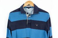 Gant Striped Jumper Sweater Zip Neck Mens Size M