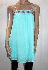 into Brand Blue Embroidered Sleeveless Day Dress Size 8 BNWT #TM45