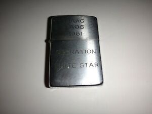 Vietnam War 1961 Zippo Lighter MAAG LAOS 1961 OPERATION WHITE STAR, MAP OF VN