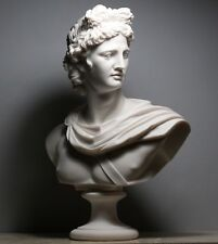 APOLLO Greek Roman God Bust Head Statue Cast Marble Sculpture Handmade 20.8 in