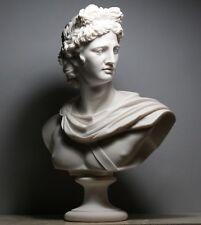 APOLLO Greek Roman God Bust Head Statue Cast Marble Sculpture Handmade 20.8 in
