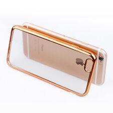 "iPhone 6/6S Plus GOLD Color Bumper Silicone Clear TPU Slim Back Cover Case 5.5"""