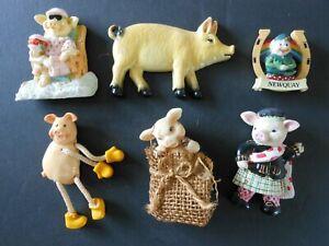 Job Lot x6 Novelty Pig fridge magnets various designs good condition (set 5)