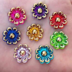 60PCS 15mm Round Acrylic Flatback Flower Scrapbook Craft Home/Sweaters Decor DIY