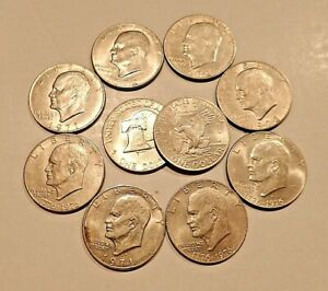 """Eisenhower """"IKE"""" Dollars - Lot of 10 Circulated Mixed Dates - FREE SHIPPING!"""