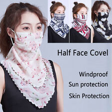Ladies Half Face Mouth Scarf Mouth Cover UV Protection Silky Neck Mask Shade