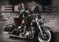 Elvis Presley Sits on Motorcycle Wearing a Leather Jacket, Wings --- Postcard