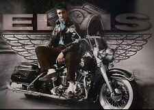 Elvis Presley Sits on Motorcycle Wearing a Leather Jacket, Wings --- Postcard