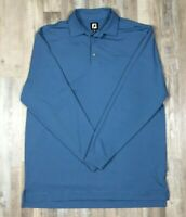 FootJoy FJ Blue Striped Polyester Long Sleeve Golf Polo Shirt Mens X-Large XL