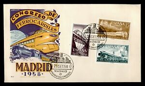 DR WHO 1958 SPAIN RAILWAY CONGRESS FDC C189415