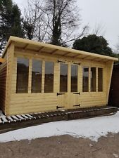 16x8 + CANOPY PENT TAN LOG SUMMERHOUSE NEW DESIGN FREE DEL WITHIN 100 MILES