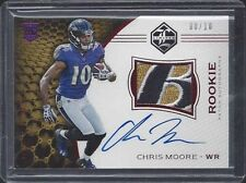 CHRIS MOORE 2016 LIMITED RED RPA SICK RAVENS LOGO PATCH ON CARD AUTO RC #D 8/10