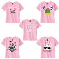 Youth Easter Bunny Rabbit Egg Hunt Spring Jesus T-Shirt Peep Toddler Girl's