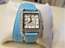 "Judith Ripka Stainless Steel & Leather Strap Wrap Watch ""Turquoise"" NWT"