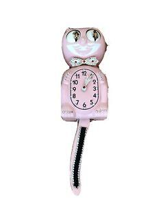 Vintage Kit Cat Klock Wagging Tail Rhinestones Pink Electric Works Read