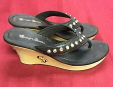 Juicy Couture Brown Leather Cowgirl Jewels Thongs Sandals Size 9/10