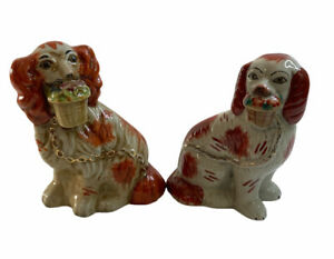 """Vintage Pair Of Staffordshire Spaniels Statues With Fruit Baskets In Mouths 7"""""""