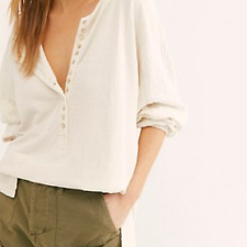 NWOT Free People Back At It Henley Ivory Oversized Top Long Sleeves Sz. S