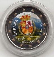 España 2 Euros 2018 1ª 50 Aniversario Felipe VI 15ª Conmemorativa ESMALTADA