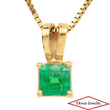 Estate Emerald 18K Yellow Gold Dainty Solitaire Small Pendant NR