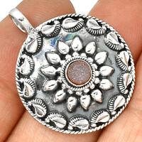 Artisan - Fleece Pink Aura Druzy 925 Silver Pendant  Jewelry PP182517