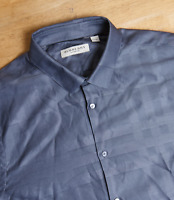 """Burberry Check Grey Shirt Mens Tailored Fit XL 42"""" 17"""" Collar Cotton Long Sleeve"""