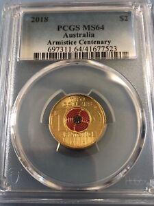 2018 PCGS graded MS64 Armistice Centenary $2 coin