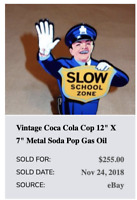 "VINTAGE COCA COLA COP 12""  METAL BUSINESS CARD HOLDER SODA POP GASOLINE OIL SIGN"