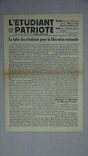 WW2 Presse Résistance Paris. L'Étudiant patriote. Mai 1944