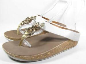 FitFlop Superchain T Strap Slide Sandal Women size 9 White Leather