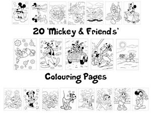 MICKEY & FRIENDS Colouring Pages -20 Sheets - Perfect for Rainy Days & Holidays!