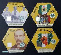Nigeria 2016 Centenary Anniversary 2014 Odd Shape Flag Hologram stamps 4v