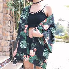 Ladies Loose Kimono Shirt Leaf Flamingo Blouse Front Open Cardigan Beach Casual