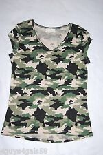 Womens Tee Shirt GREEN BLACK BEIGE CAMO V NECK Cap Sleeve SIZE S 4-6